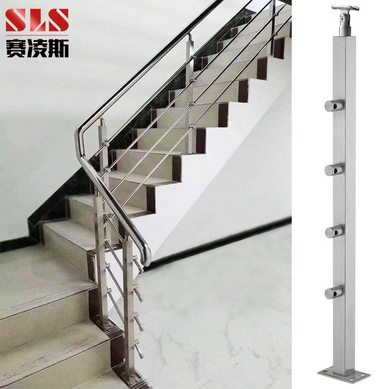 304不锈钢楼梯扶手立柱 阳台钢化玻璃护栏杆